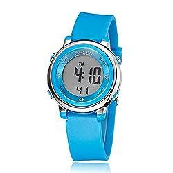 eYotto Children Kid's Boy Girl Watch Out-door Sports LED Alarm Digital Stopwatch Wristwatch (Blue)