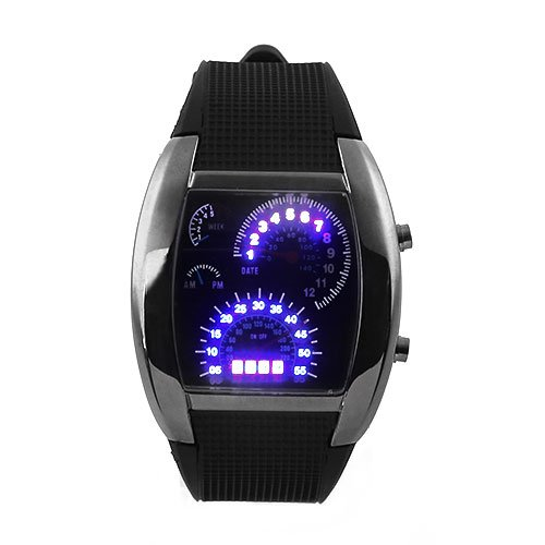 Digital Car Meter Dial Wristwatch Black Rubber Strap Band Blue RPM Turbo LED New (Digital Blue Dial Rubber Strap)