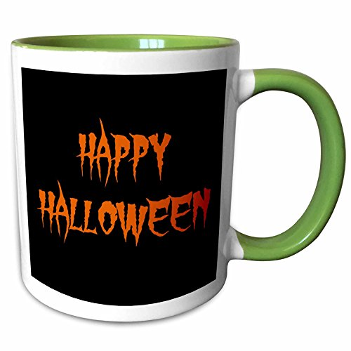 3dRose Xander holiday quotes - happy halloween orange spooky letters on black background - 15oz Two-Tone Green Mug (mug_200673_12)