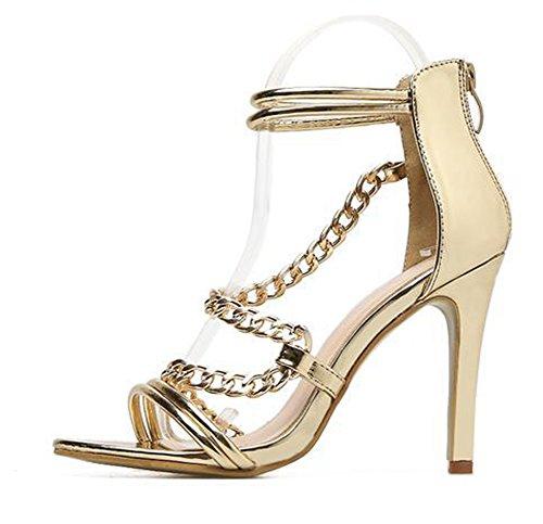 Zehe Stiletto Sandale Knöchelriemchen Aisun Kette Damen mit Reißverschluss Offene Metallic Gold SEwqBp