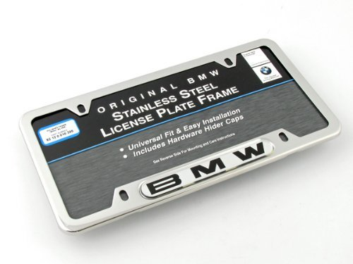 BMW License Plate Frame w/BMW Logo POLISHED stainless steel - License Tag Frame