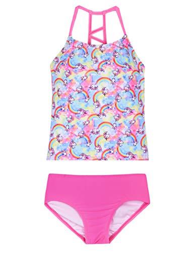 8d4e3067f9 Hilor Girl's Two Piece Swimsuits Ruffle Hem Tankini Set Cross Back Swimwear  Set