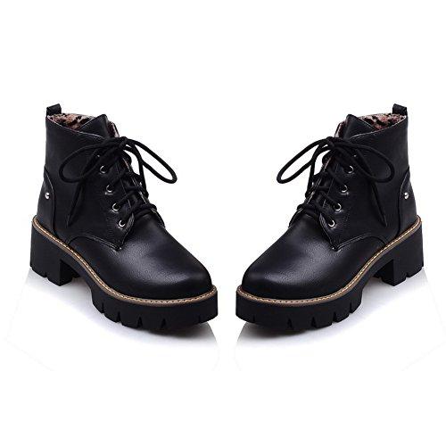 Lær Bandasje Svart Balamasa Klinke Plattform Womens Støvler Piggdekk Imitert x5AqAY4B