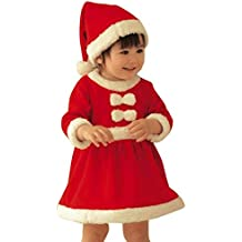 Toddler Kid Baby Girl Cosplay Clothes Christmas Santa Costume Bowknot Party Dress+Hat Outfit