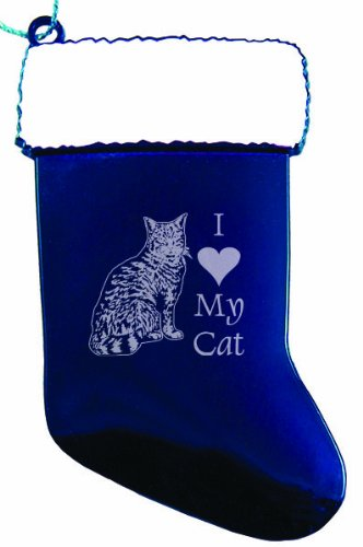 Solid Pewter Christmas Ornament - I Love My Cat - Blue