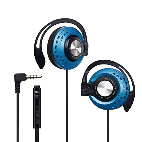 S45 Sport Gaming Slim Clip-On Earphones Headphones Headset with Over-Ear Hooks for Apple iPhone iPod iPad Samsung Android Smartphones Computer Tablet Laptop Travel Boys Girls Child Kids – Blue