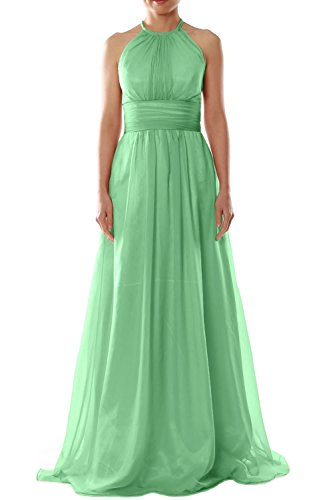 Minze Evening Chiffon Wedding Gown Party Bridesmaid Halter Women Long Dress MACloth qv6gOwg