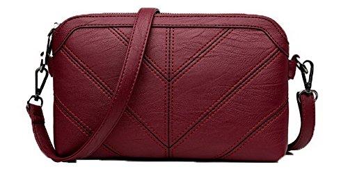 à Pochette Rouge Femme Zippers Décontractée bandoulière Pu Cuir VogueZone009 Vineux Mode CCAFBP180957 Sacs pYxqw8wP