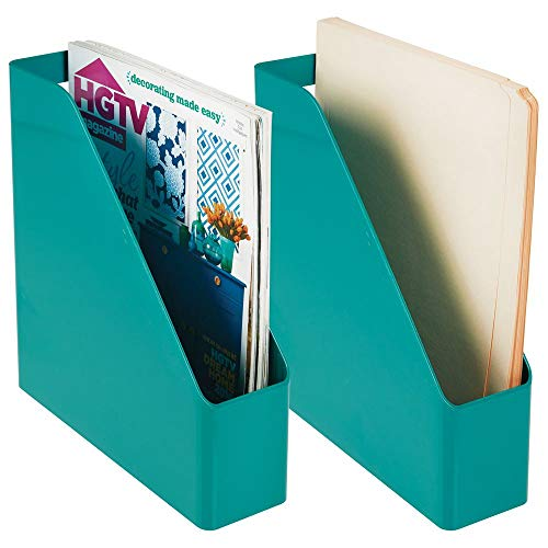 mDesign Plastic File Folder Bin Storage Organizer - Vertical with Handle - Holds Notebooks, Binders, Envelopes, Magazines - Container for Home Office and Work Desktops - 2 Pack - Teal Blue