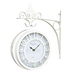 Time Concept Old Street Double-Sided Large Wall Clock - White - Vintage Style, Battery-Operated Analog, Home/Kitchen Decor