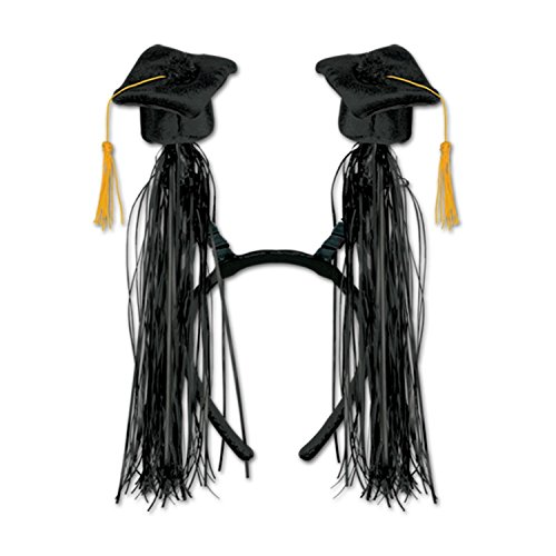 Club Pack of 12 Black Graduation Cap with Fringe Bopper Headband Party Favors by Party Central