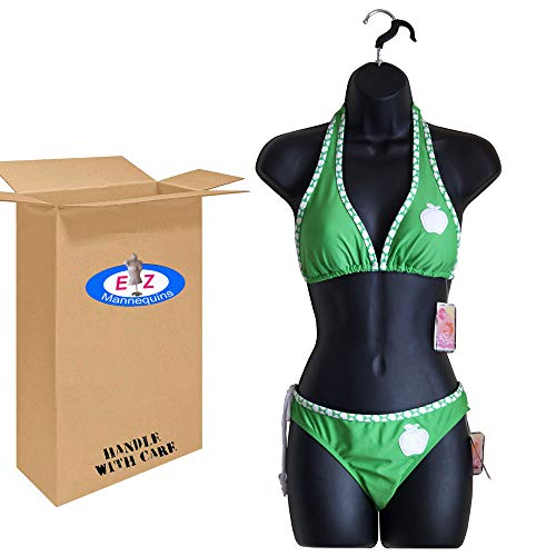DisplayTown Female Dress Plastic Mannequin Body Form Great for Displaying Small and Medium Sizes, Black