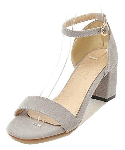 Aisun Womens Comfort Semplice Con Fibbia Dressy Blocco A Tacco Medio Sandali Open Toe Con Cinturino Alla Caviglia Grigio