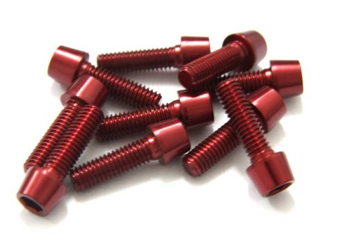MSC BIKES Alu7075T6 M6 x 25-Viti per bicicletta, in alluminio anodizzato, colore: rosso Alu7075T6 M6x25