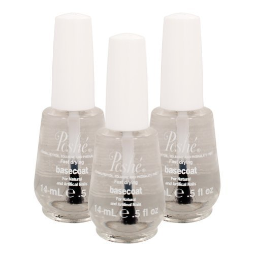 LOT 3 Poshe Super Fast Drying Basecoat Nail Manicure Care Protect Gloss 0.5 Oz