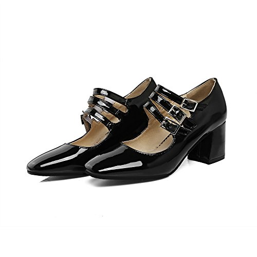 Odomolor Women's Square-Toe Kitten-Heels PU Solid Buckle Pumps-Shoes, Black, 42