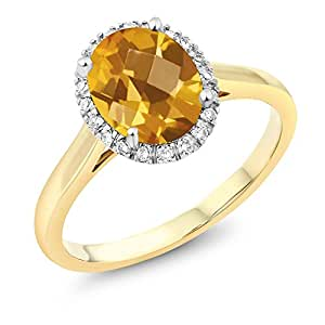 10K Two-Tone Gold Checkerboard Citrine and Diamond Engagement Ring 1.30 Ct