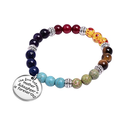 7 Chakra Stone Beaded Inspirational Bracelet Bangle -Engraved Message The Love Between Mother And Daughter Is Forever Silver Charm for Women Girls Men Elastic Meditation Healing Yoga Bracelets (Tri Color Love Bracelet)