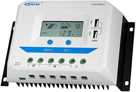 45A 12/24/36/48V Solar-Laderegler mit LCD-Display und leistungsstarkem Dual-USB-Ausgang (2,4 A)