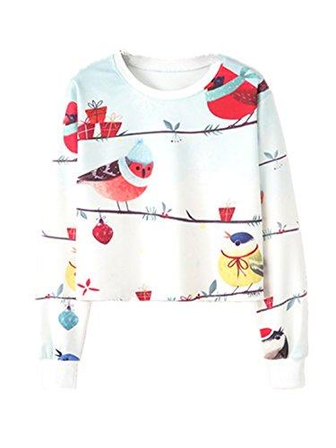 Bird Sweater - YICHUN Women Girl Short Top T-Shirt Thin Sweater Sweatshirts Tunic Blouse Casual (M, Bird 20#)