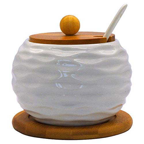 Pattern Sugar Base - Vencer Ceramic Sugar Bowl with Serving Spoon and Bamboo Lid, Bamboo Base, Wave Pattern, 17.6 oz, Sugar Dispenser