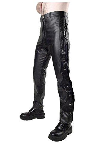 Phaze schwarz Seite Öse Leder Look Jeans