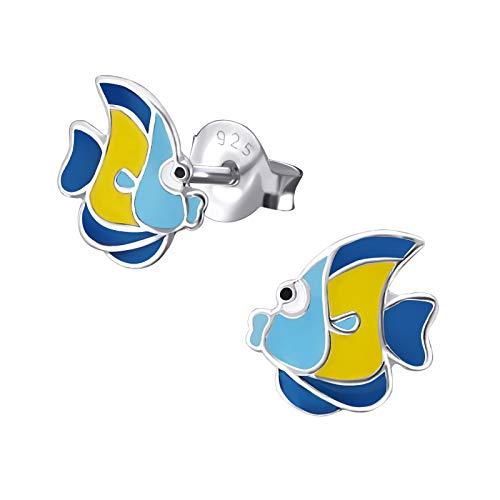 (Tropical Fish Girls Stud Earrings 925 Sterling Silver Ear Studs 16910 E18)