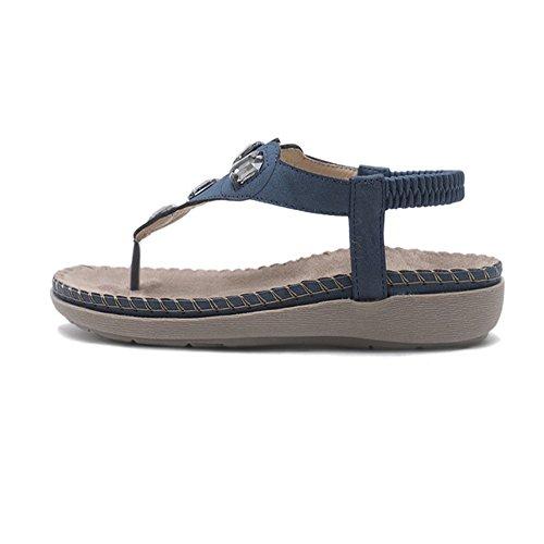 Female Flat Comodidad Transpirables Zapatos Slippers Soft Bohemia De Mujer Zapatillas Verano Bottom Sandalias Cuero Femeninas Para Antideslizante Azul ARwF4q