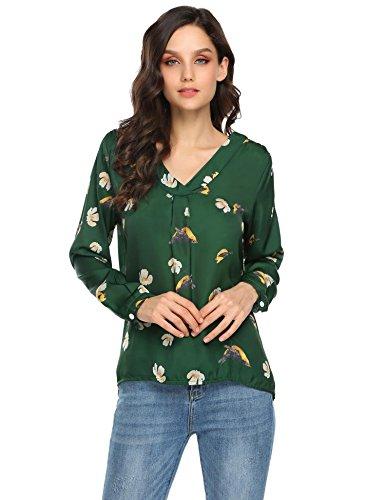 Zeagoo Women's Long Sleeve Printed Chiffon Shirt Blouse Tops,Medium,Green2
