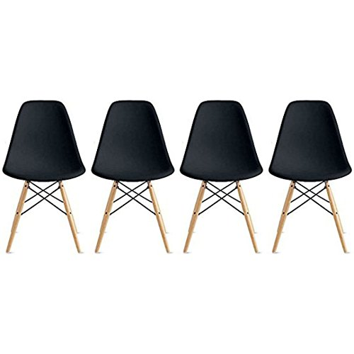 Nicer Furniture Eames Style Side Chair with Natural Wood Legs Eiffel Dining Room Chair - Set of 4 (Black)