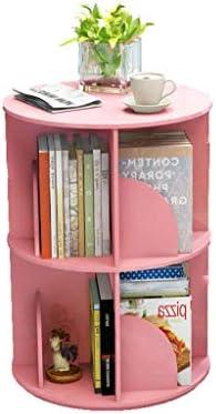 BOOKCASE Rotating Bookcase 360 Degree Bookcase Multi-layer Student Desk Shelf Desk Bookcase 40x66cm (Color :) Pink