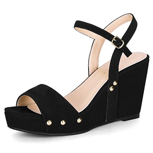 Allegra K Women's Slingback Wedge Platform Ankle Strap Heel Sandals Black
