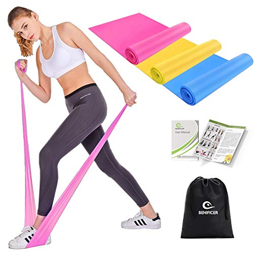Benificer Resistance Band Set, 3 Pack Latex Elastic Bands for Upper & Lower Body & Core Exercise, Physical Therapy, Home…