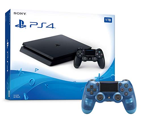 Playstation 4 1TB Slim Console and Extra Crystal Blue Dualshock 4 Wireless Controller Bundle