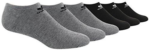 Adidas Tennis Crew Socks (adidas Men's Originals Trefoil Cushioned No Show Socks (6-Pack), Heather Grey/Black/White, Large)
