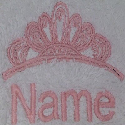 EFY White Baby Hooded Bath Robe or White Hooded Towel with a FANCY PRINCESS CROWN Logo and Name of your choice. (Hooded Towel 0-5 years)