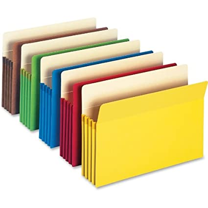 Smead File Pockets Legal Size, 3.5-Inch Expansion, Assorted Colors, 5 Each Per Pack (74892)