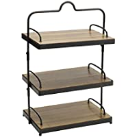 Gourmet Basics by Mikasa Sierra Adjustable Metal Buffet Stand with Removable Acacia Serving Trays, Antique Black