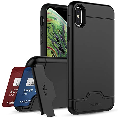 Teelevo Wallet Case for iPhone Xs/iPhone X - Dual Layer Case with Card Slot Holder and Kickstand for Apple iPhone Xs (2018) and iPhone X (2017) - Black
