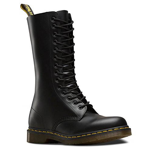 Eyelet Black Leather (Dr.Martens Womens 1914 14-Eyelet Black Leather Boots 6 US)