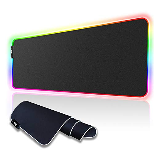 MOJI RGB Gaming Mouse Pad Large, Oversized Glowing LED Extended Mousepad, Non-Slip Rubber Base Computer Keyboard Mouse Mat, 31.5X 11.8 inch
