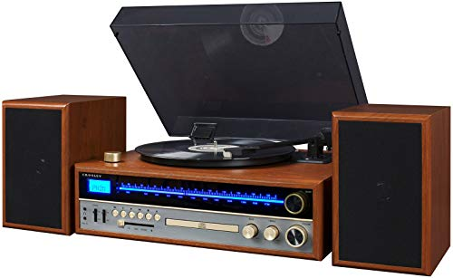 Crosley 1975T Turntable System with Bluetooth, CD, AM/FM and Included Speakers, - Record Player Cd Crosley