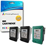 Printing Pleasure 3 XL (1 SET + 1 BLACK) Remanufactured Ink Cartridges Replacement for HP 350XL 351XL Photosmart C4280 C4380 C4480 C4485 C4580 C5280 Deskjet D4260 D4360 - Black/Colour, High Capacity