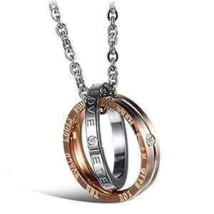 Titanium Steel Ring Pendant Necklace Couple Pendant-Rose Gold for Women