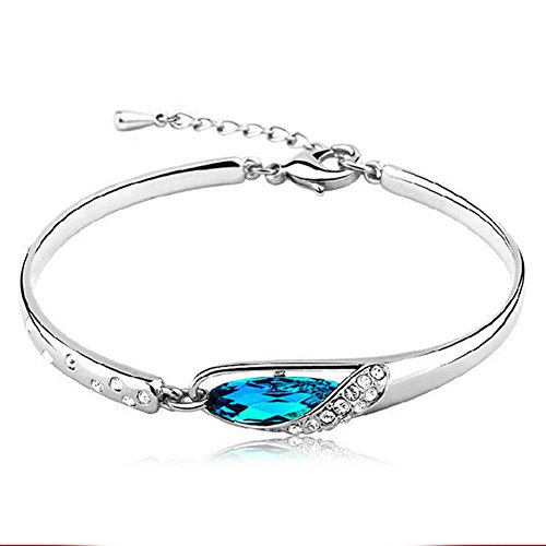 Bracelet Elegant Hand Jewelry, Cuff Bracelet Bangle with Blue Crystal for Women and Girls