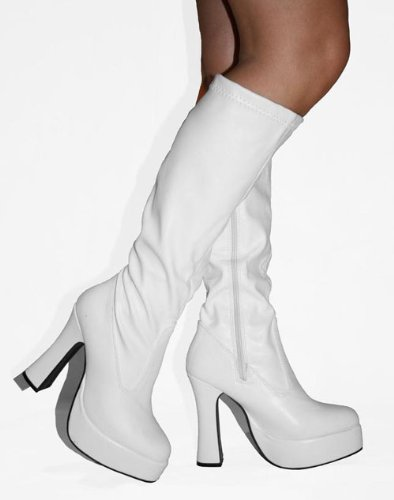 75cdd686318 Disco - White Faux Leather Platform 4½ Inch Heel 60s 70s Retro Knee High  GoGo Boots