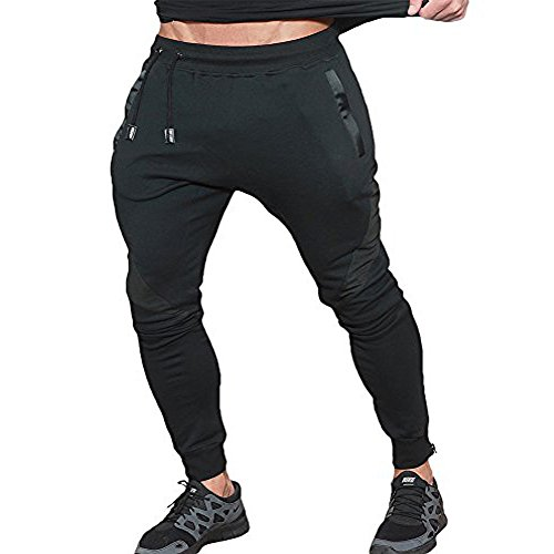 Men's Joggers Pants Training Running fleece Trousers Gym Workout Active Pant With Zipper Pockets Dark Black XS tag -