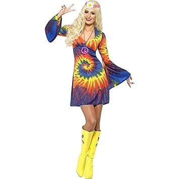 Smiffys, Damen 60er Schnurbatik Kostüm, Kleid, Hippie, Größe: S ...