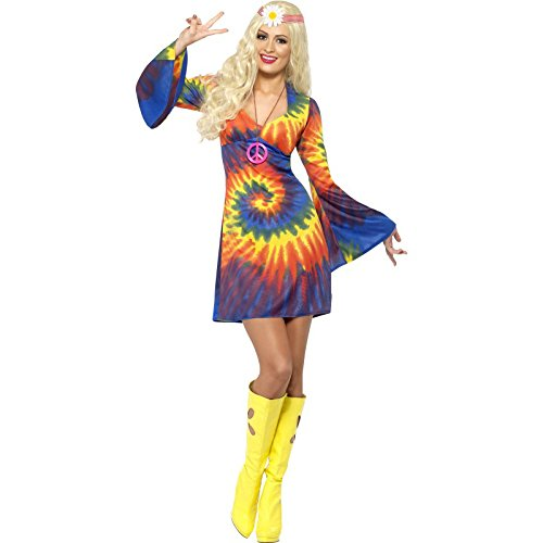 Smiffy's Women's 1960's Tie Dye Costume, Dress, 60's Groovy Baby, Serious Fun, Size 6-8, (Groovy Baby Halloween Costume)
