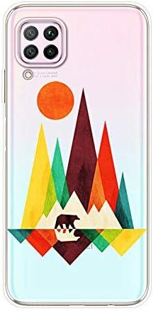 Herbests Kompatibel mit Huawei P40 Lite Hülle Silikon Case Transparent Silikon Schutzhülle mit Tiere Muster Ultradünn Stoßfest Rückschale Tasche Crystal Clear Soft Case,Berg